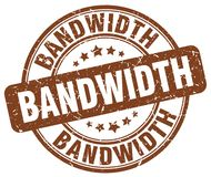 Bandwidth brown stamp. Bandwidth brown grunge round stamp isolated on white background royalty free illustration
