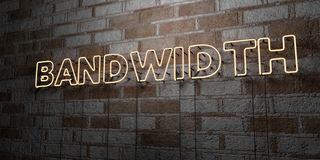 BANDWIDTH - Glowing Neon Sign on stonework wall - 3D rendered royalty free stock illustration. Can be used for online banner ads and direct mailers stock illustration