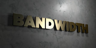 Bandwidth - Gold text on black background - 3D rendered royalty free stock picture. This image can be used for an online website banner ad or a print postcard royalty free illustration