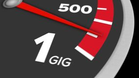 Bandwidth meter to 1 Gig. A hypothetical bandwidth meter measuring Internet speeds up to 1 Gbps. With optional luma matte stock footage