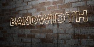 BANDWIDTH - Rozjarzony Neonowy znak na kamieniarki ścianie - 3D odpłacająca się królewskości bezpłatna akcyjna ilustracja ilustracji