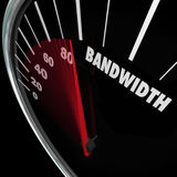 Bandwidth Speedometer Limited Resources Traffic Communication. Bandwidth word on a speedometer vector illustration