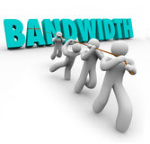 Bandwidth Word Pulled Team Resources Limited Ability Time. Bandwidth word in 3d letters pulled by a team of people to illustrate limited resources to do work and stock illustration