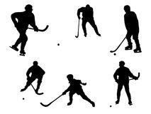 Bandy. The bitmap image of separate subject of game of bandy on a white background Stock Photos