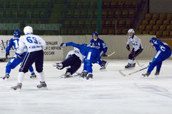 Bandy game Dynamo vs Baikal Stock Photo