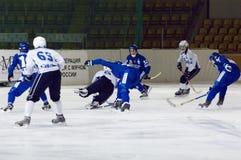 Bandy game Dynamo vs Baikal Stock Photo