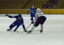 Bandy game Dynamo vs Baikal Stock Image
