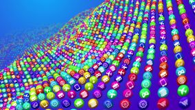 Bandy Social Mass Media Balls. An amazing 3d rendering of hooped colorful social mass media surface made of balls put in the blue background. They have diverse Stock Photography