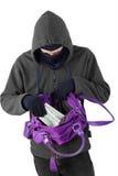 Bandyta bierze pieniądze od torebki Obraz Stock