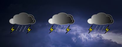 Banerär horisontalrektangelmoln svarta i himmel, medan regn faller, med symboler för symbolsrainandblixt Med kopiera utrymme stock illustrationer