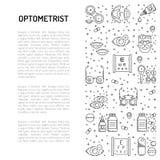 Baneröversiktsstil ämnet av oftalmologi vektor illustrationer