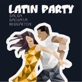 Baner affisch med dansing par stock illustrationer