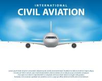 Baner affisch, reklamblad med flygplanbakgrund Nivå i blå himmel, civilflygtrafikflygplan Kommersiellt trafikflygplanlopp stock illustrationer