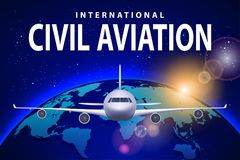 Baner, affisch, reklamblad med flygplanet och jord Hyvla på solig blå bakgrund, civilflygtrafikflygplan kommersiellt royaltyfri illustrationer