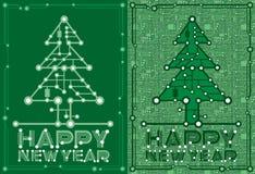 Baner av den gröna granen med dator- och moderkortbeståndsdelar royaltyfri illustrationer