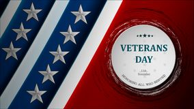 Baner av den lyckliga designen för illustration för tecken för flagga för ferie för veterandag över en vit bakgrund stock illustrationer