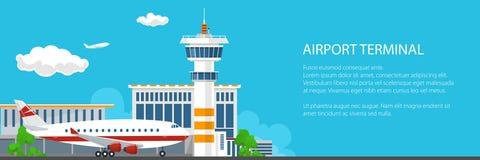Baner av flygplatsen med det kontrolltornet och flygplanet Royaltyfria Bilder
