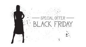 Baner Black Friday för specialt erbjudande med för modemodell för Grunge Rubber för Female Silhouette On bakgrund vit vektor illustrationer