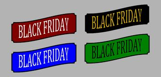 Baner Black Friday Sale också vektor för coreldrawillustration Royaltyfria Bilder