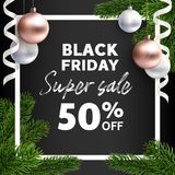 Baner Black Friday Sale Vektorreklambladmall vektor illustrationer