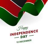Baner eller affisch av Kenya självständighetsdagenberöm Våg flagga också vektor för coreldrawillustration royaltyfri illustrationer