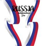 Baner eller affisch av Ryssland sj?lvst?ndighetsdagenber?m f?r russia f?r tillg?nglig flagga glass vektor stil ocks? vektor f?r c royaltyfri illustrationer