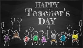 baner eller affisch för lycklig dag för lärare` s med trevligt och idérikt vektor illustrationer