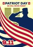 Baner eller affisch för patriotdagtappning Vi ska glömma aldrig September 11 stock illustrationer