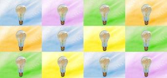 Baner eller bästa affisch, färgglade lightbulbs stock illustrationer