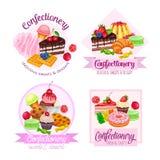 Baner eller etikett med konfekt och sötsaker stock illustrationer