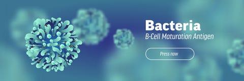 Baner eller landning om mikroskopiska mikrobiologi och virus 3d royaltyfri illustrationer