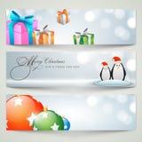 Baner eller rengöringsduktitelraddesign för beröm för glad jul Arkivfoton
