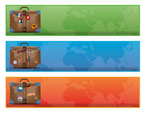 Baner eller tecken med resväskan för världshandelsresande Royaltyfri Bild