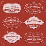 Baner, emblem och ramar för glad jul Royaltyfria Bilder