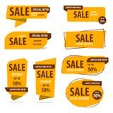 Baner etikett, vektor, rabatt, design, försäljning, erbjudande, sakkunnig, b stock illustrationer