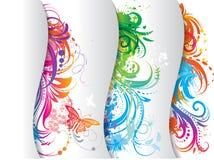 baner färgad set stock illustrationer
