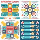 Baner för affärsidé för Infographic beståndsdelmall i plan design utformar för presentation, broschyr, website och annan projekte stock illustrationer