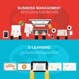 Baner för affärsledning och E-att lära Plan design, illustrationbegrepp för affären, analys, arbete, idékläckning, Fotografering för Bildbyråer