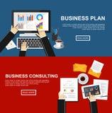 Baner för affärsplan och att konsultera för affär Plana designillustrationbegrepp för finans, affär, ledning, analys Royaltyfri Foto
