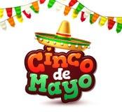 Baner för affisch för parti för vektorcincode mayo mexikanskt royaltyfri illustrationer