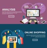 Baner för analys och online-shopping Plana designillustrationbegrepp för affären, finans, online-shopping, e-kommers Royaltyfri Bild