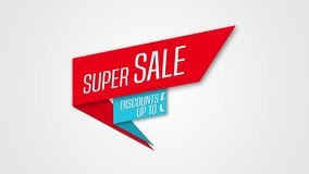 Baner för animering för Sale ögla röd och blå, Rabatter upp till 50 procent stock illustrationer
