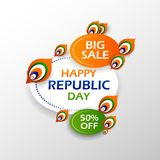 Baner för annonsering för Sale befordran för 26th Januari, lycklig republikdag av Indien stock illustrationer