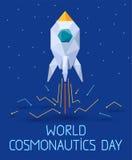 Baner för 12 April Cosmonautics Day stock illustrationer