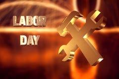 Baner för arbets- dag, guld- text och ett symbol av att arbeta, stock illustrationer