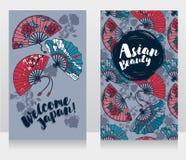 Baner för asiatisk skönhet och resor med traditionella asiatiska handpappersfans Arkivbilder