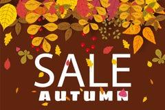 Baner för Autumn Sale, bakgrund med fallande sidor, guling, apelsin, brunt, nedgång, bokstäver, mall för affisch stock illustrationer