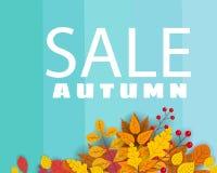 Baner för Autumn Sale, bakgrund med fallande sidor, guling, apelsin, brunt, nedgång, bokstäver, mall för affisch vektor illustrationer
