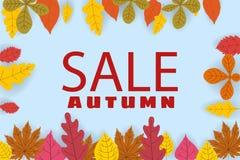 Baner för Autumn Sale, bakgrund med fallande sidor, guling, apelsin, brunt, nedgång, bokstäver, mall för affisch royaltyfri illustrationer