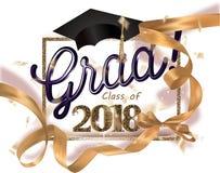 Baner 2018 för avläggande av examenparti med det guld- bandet, ramen och konfettier royaltyfri illustrationer